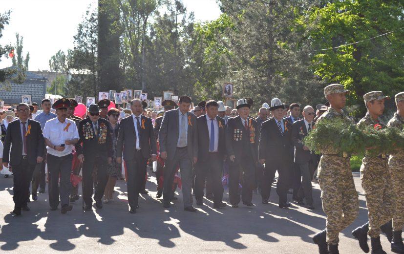 Шествие колонны от здании Жайылской райгосадминистрации до Стеллы